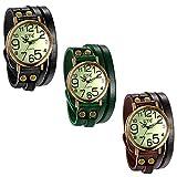 JewelryWe 3pcs Herren Damen Armbanduhr, Leder Armband Wickelarmband, Casual Retro, Analog Quarz Uhr, Vintage grünes Digital Zifferblatt, 3 Farben