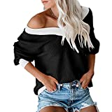 JOYFEEL Women's V Neck Long Sleeve Waffle Knit Shirt Tops Off Shoulder Loose