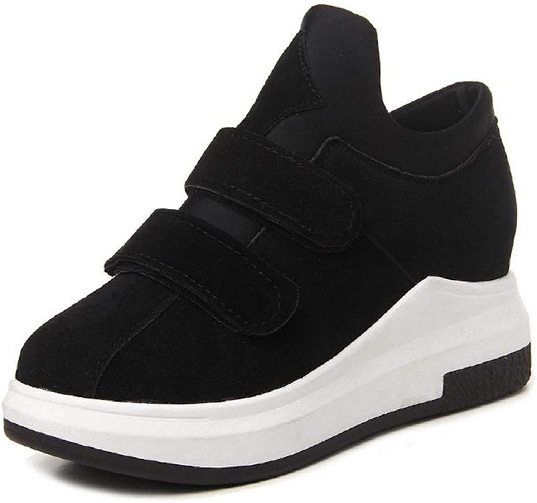 U-MAC Womens Wedge Hidden Heel Sneakers Fashion Fabic Height Increased Anti Slip Rubber Sole Walking shoes