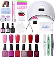 Elite99 Lámpara UV LED para Uñas 24w, Kt de Esmaltes Semipermanentes en Gel UV LED, Base y Top Coat, Removedor de Uñas