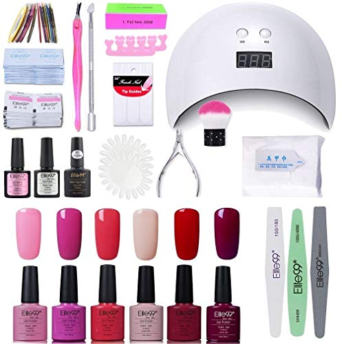 Elite99 Lámpara UV LED para Uñas 24w, 6 Colores Kit de Esmaltes Semipermanentes en Gel UV LED, Base y Top Coat, Semipermanentes, Removedor de Uñas y Accesorios 002