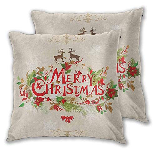 Christmas Throw Pillow Cover, 26 x 26 Inch Merry Xmas Wish with Fir Tree Branches Poinsettia Flowers Cute Birds and Deer Double-Sided Printing Christmas Decoration Green Red Tan Set of 2