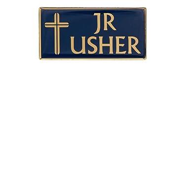 2 Junior Usher Magnetic Badge Pin for Church Blue Gold Set of 2