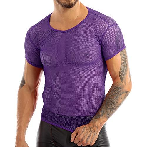 YOOJOO Men's Mesh Fishnet Fitted Short/Long Sleeve Muscle Top Sport Tank Top Undershirt Clubwear Purple M