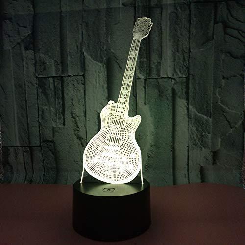 BFMBCHDJ 3D Gitarre Led Nachtlicht Sieben Farbe Touch Fernbedienung 3D Visuelles Licht Kreatives Geschenk Kleine Tischlampe A4 Weiß riss basis + fernbedienung