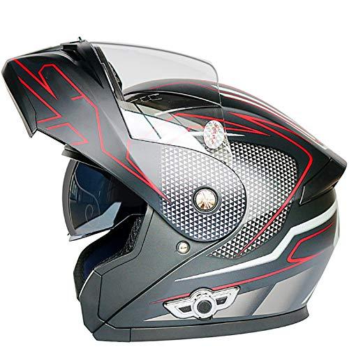 GAOZHE Casco de Moto Integral Scooter para Mujer Hombre Adultos con Doble ViseraCasco Moto Modular ECE Homologado Casco de Moto Integral Scooter para Mujer Hombre Adultos