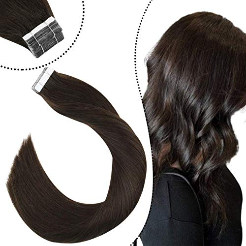 Ugeat Skin Adhesive Haarverlangerung mit Tape Extensions 20Stuck 50Gramm Remi Echthaar Seamless Tape Tressen Unsichtbar (Dunkelstes Braun #2, 35cm)
