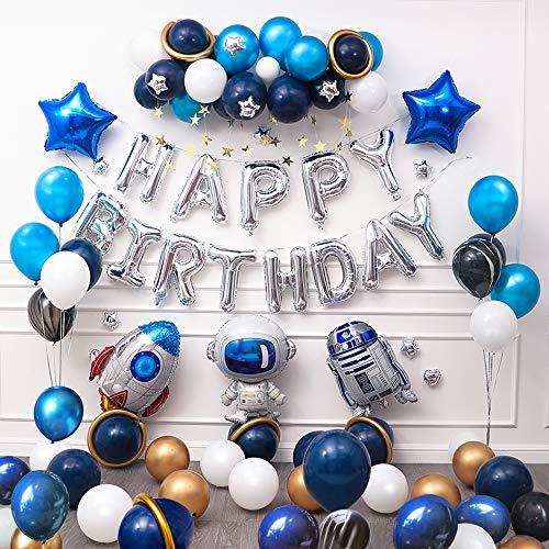 Ponmoo 87 piezas Globos Cumpleaños de Niño, Azul Decoraciones para Espacio Fiestas de Cumpleaños, Globo de Cohete Astronauta Robot Happy Birthday, Decoración de Feliz Cumpleaños con Accesorios