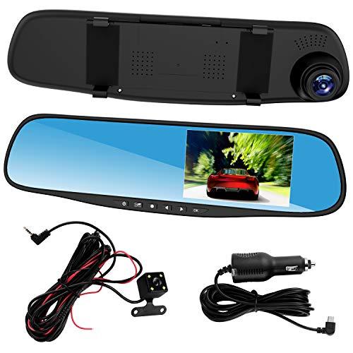 Esenlong Cámaras de Tablero para Automóviles Delanteros Y Traseros Lente Dual HD 1080P 4. 3In Car Dvr Espejo Retrovisor Cámara Tablero de Video Grabadora