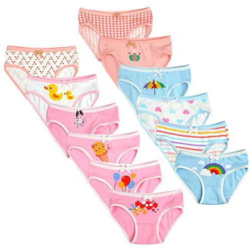 Calosy Braguitas de Algodón para Niñas Pequeñas Ropa Interior de Calzoncillos Surtidos Suaves para Bebés (Paquete de 12 Paquetes) (4-6 años, Multi-9)