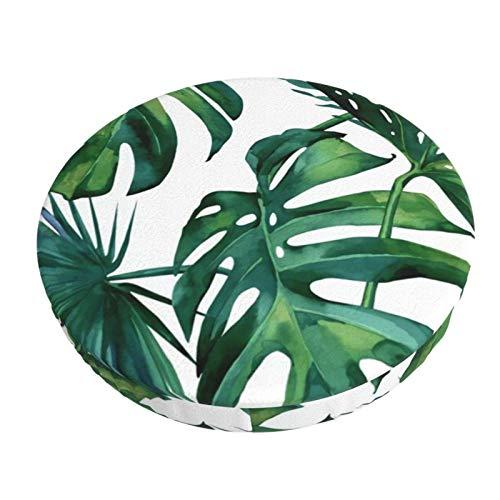 Round Bar Stools Cover,Klassisches Palmblatt Tropisches Dschungelgrün,Stretch Chair Seat Bar Stool Cover Seat Cushion Slipcovers Chair Cushion Cover Round Lift Chair Stool