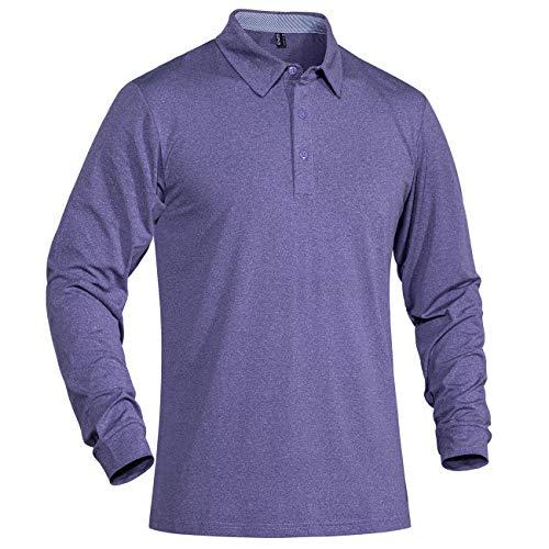 MAGCOMSEN Herren Langarm Polohemd Atmungsaktiv Gym Training T-Shirt Militär Kleidung Herren Outdoor Kletter Shirts UV Protection Shirt Schnelltrocknend US Army Tactical Shirt Lila XL