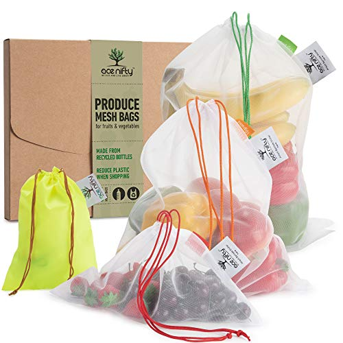Ace Nifty Premium Reusable Produce Bags from Recycled Bottles, Washable Zero Waste Fruit Vegetable Grocery Mesh Shopping Bag or Toy Storage, Reuseable Ecological Portable Veg Bag, 6 Eco Bags 2x S M XL