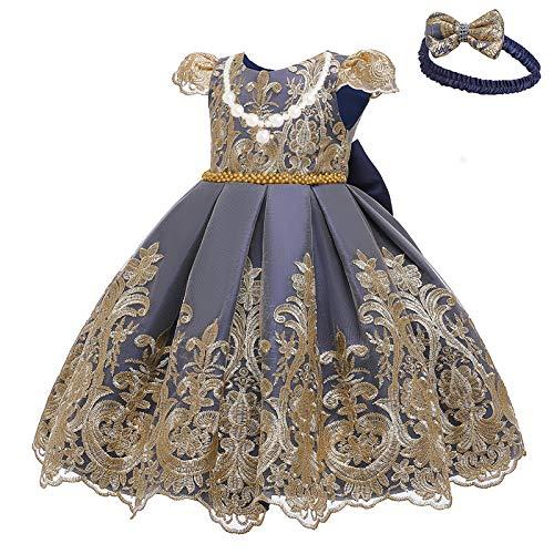 L SERVER Vestido para Niñas Vestido de Princesa Disfraz Fiesta Vestido de Bautismo de Encaje con Lazo Ropa Elegante Niña Bebé, Azul Marino, 3-6 Meses, Etiqueta 6M