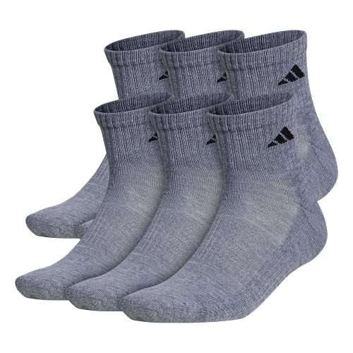 adidas Men's Athletic Cushioned Quarter Sock (6-Pair), Heather Grey/Black, XL, (Shoe Size 12-15)