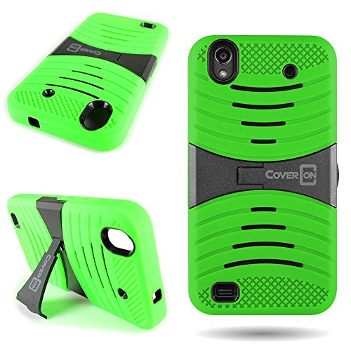 ZTE Quartz Phone Case, CoverON [Dual Defense Series] Protective Hybrid Armor Kickstand Phone Cover Case for ZTE Quartz Z797C - Neon Green & Black