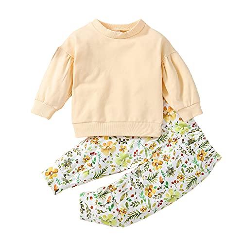 Alunsito Ropa para niñas pequeñas de color sólido Top de manga larga + Pantalones florales Bebé Otoño Invierno 2 piezas Trajes Beige 90 12-18 meses