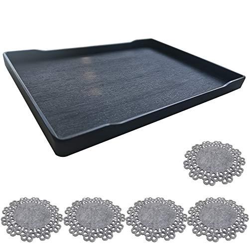 Serviertablett & Teller zum Essen – 1 x Kunststoff-Teller-Set, 1 x schwarze Servierplatte + 5 x Untersetzer, Teller für Partyessen, 1 Stück