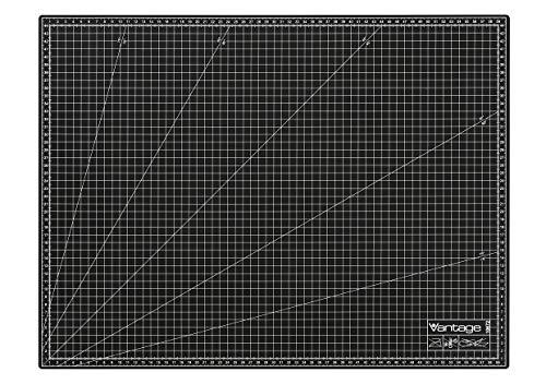 Dahle Vantage - Tappetino da taglio formato A2, 45 x 60 cm, autorigenerante, utilizzabile su entrambi i lati, con griglia, colore: Nero
