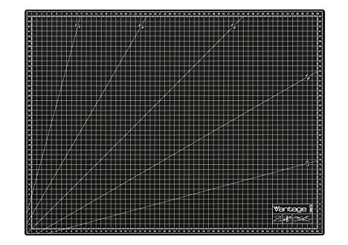 Vantage Schneidematte A2 (45 x 60 cm, selbstheilend, beidseitig nutzbar, mit Raster) schwarz