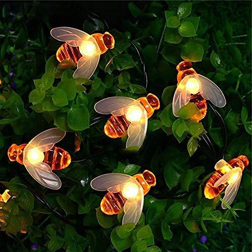 Cadena de luces solares, 5m 20 LED luces de jardín de hadas de abeja miel8 modos impermeable exterior/interior para valla de flores, césped, patio, festón, fiesta de verano, Navidad, vacaciones