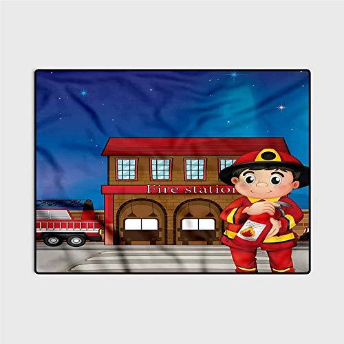 Fireman Anti-Static Rug Marine Carpet Fire Station Extinguisher 6 x 7 Ft