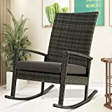 YeSea Rocking Chair Gray Rocking Lawn Chair Rattan Woven Rocking Chairs with Waterproof Cushion Classic Porch Chairs Outdoor Indoor (Charcoal Gray)