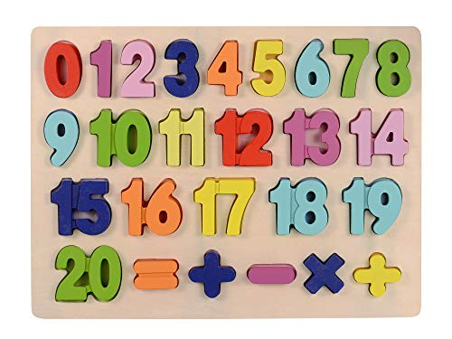 Afunti Bebé Número de Madera Que aprende Jigsaw Puzzle Board Shape Numbers Puzzle Toy para niños 25 Piezas