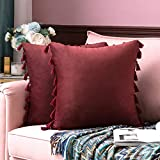 MIULEE Pack of 2 Velvet Soft Decorative Throw Pillow Covers with Tassels Fringe Boho Accent Cushion Case for Couch Sofa Bed 16 x 16 Inch Burgundy