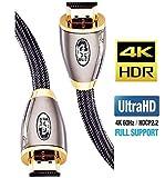 4K HDMI Kabel 2M HDMI 2.0b Kabel 4K@60Hz HighSpeed 18Gbps Nylon Geflecht Vergoldete Anschlüsse mit Ethernet/Audio Rückkanal,Kompatibel mit Video 4K UHD 2160p,HD 1080p,3D Xbox PS4 - IBRA RED