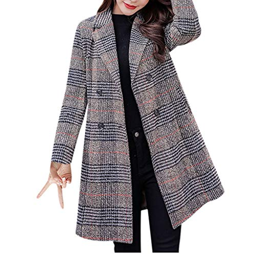 FRAUIT Wollmantel Damen Gitter Wolle Parka Wintermantel Frauen Stricken Trenchcoat Kleidung Lange Mantel Schlanke Mode Elegant Freizeit Streetwear Kleidung Bluse Tops Outwear (L, Q-Grau)