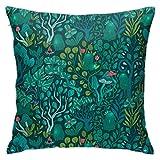 YHKC Emerald Forest Keepers Fairy Woodland Creatures Árbol, Plantas y Setas Cojín para el Suelo Funda de Almohada, Cojín para Coche, Sofá, Funda de Almohada, Decoración de Interiores (45 cm x 45 cm)