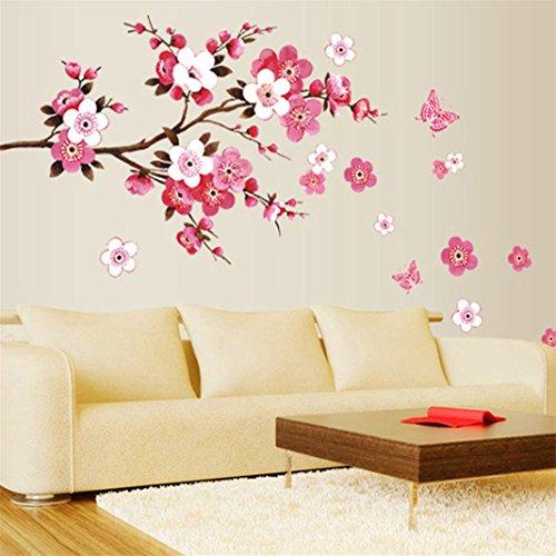Bodhi2000® - Adhesivo Decorativo para Pared, diseño de Flores, Color Rosa
