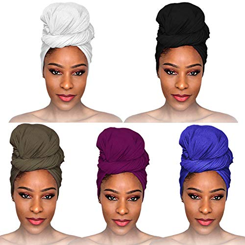 fani 5 Pieces Stretch Jersey Head Wrap Stretchy Turban Tie Solid Color Ultra Soft Extra Long Knit Headwraps Breathable Urban Hair Wrap Scarf Lightweight Classic African Headband Tie for Women