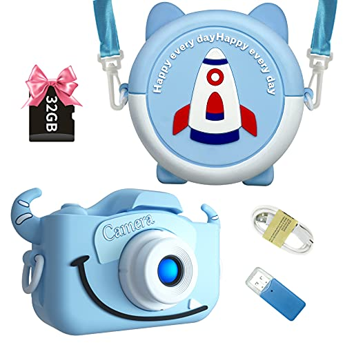 INOCTI Kids Camera, Kids Digital Camera for Boys Girls Selfie Video Camera 1080P Dual Lens 2.0 Inch HD with Camera Bag, 3-10 Year Old Toddlers Girls & Boys Birthday Gifts Toys 32G TF Card Included