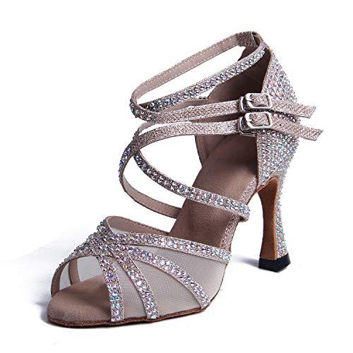 Syrads Zapatos de Baile Latino con pedrería para Mujer Salsa Tango Moderna Bachata Zapatos de Baile de Salón Suela Blanda 1057-01
