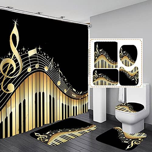 Fashion_Man 16PCS/Set Elegant Musical Notes Piano Key Music Shower Curtain Waterproof Cloth Polyester Bath Curtain Bathtub Curtains, Bathroom Carpet Bath Mat Toilet Rugs, Modern Bathroom Decor, Gold