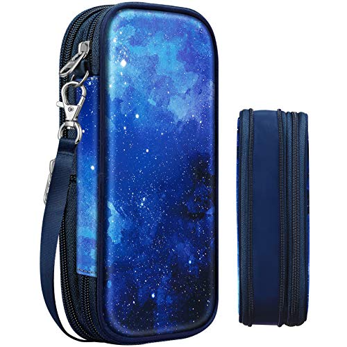 Expandable Pencil Case, FINPAC Large Storage Foldable Pen Pouch Box Organizer Bag for Teen Girls Boys Kids Office School Students (Starry Sky)
