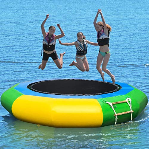 Inflatable Water Trampoline Bouncer - 6.5ft/ 10ft Water Park Children's Bouncing Splash Padded Swim Platform for Water Sports w/High Speed Inflator/deflator, Great for Kids & Adults (10FT)