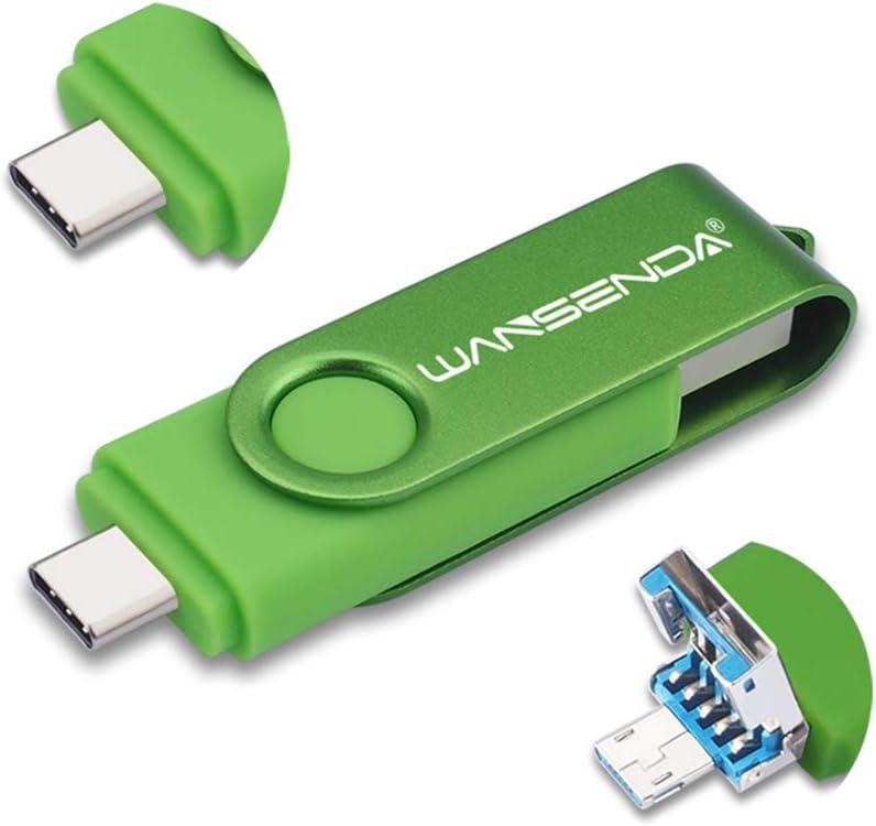 WANSENDA 3 in 1 USB 3.0/3.1 Flash Drive Type-C Type-A & Micro USB Thumb Drive (128GB, Green)
