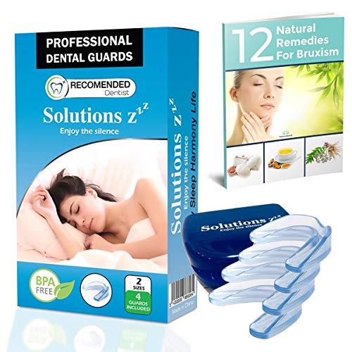 Gouttière dentaire professionnelle Solutions ZZZ [4 PCS 2 TAILLES] Dispositif anti grincement des dents, anti bruxisme- GRATUIT: Ebook envoyé sur demande + boîtier de rangement