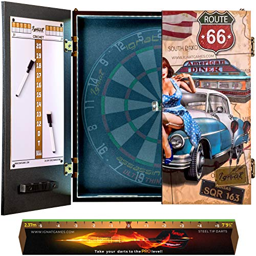 IgnatGames Dart Board Cabinet Sets - Dartboard Cabinet with Innovative LED System, 2 Magnetic Scoreboards with Markers, and Throw Line - Dart Cabinet with 3 Cover Options (Dartboard Not Included)