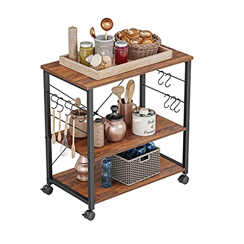 CubiCubi Kitchen Baker's Rack, 3 Tier Utility Kitchen Serving Cart with Wheels, Microwave Cart with Storage, Coffee Station for Kitchen, Metal Frames and 10 Hooks, Deep Brown
