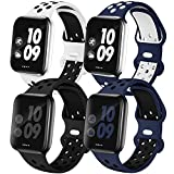 EXCHAR Sport Band Compatible with App le Watch Bands 42mm 44mm Series 6/5/4 Breathable Soft Silicone Replacement Wristband Women and Men for iWatch Series 3/2/1 Nike+ All Various Styles S/M 4 Pack