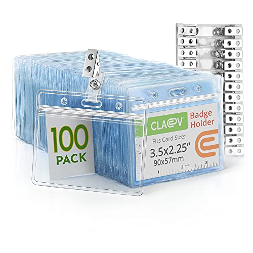 Claev Horizontal PVC ID Badge Holders with Metal Clip and Vinyl Straps (Clear, 3.5x2.25 Inch, 100 Pack), Plastic Name Card Holders for Conferences, Conventions, Offices & Schools