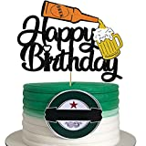Glorymoment Happy Birthday Beer Cake Topper, Glitter Happy Birthday Cake Topper for Cheers & Beers...