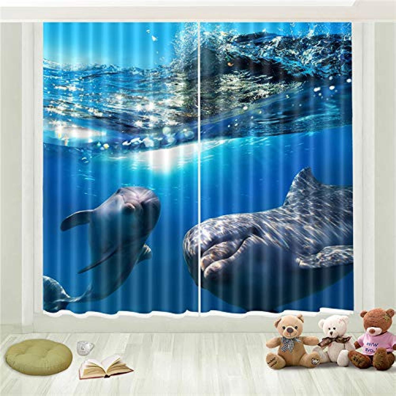 LGXINGLIyidian Tratamiento De La Ventana Triciclo De Cortina negroout Súper Suave Dos Lindos Delfines Bajo El Mar Impresión En 3D Cortinas De Ojales con Aislamiento Térmico 150 (H) X130 Cm (W) X2