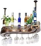 AERVEAL Titular de Vino Estante de Vino Estante de Vino Altura Ajustable Montado en la Pared Cuelga de la Botella de Vino Metal Iron Vino Copa de Vino Rack Cocinero Stemware Racks Estilo Vintage Esti