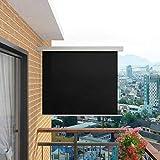 Patio-Seitenmarkise, Balkon-Sichtschutz Garten Terrasse Seitenrollo Outdoor-Sichtschutzteiler Balkon-Seitenmarkise Multifunktional 150x200 cm Schwarz