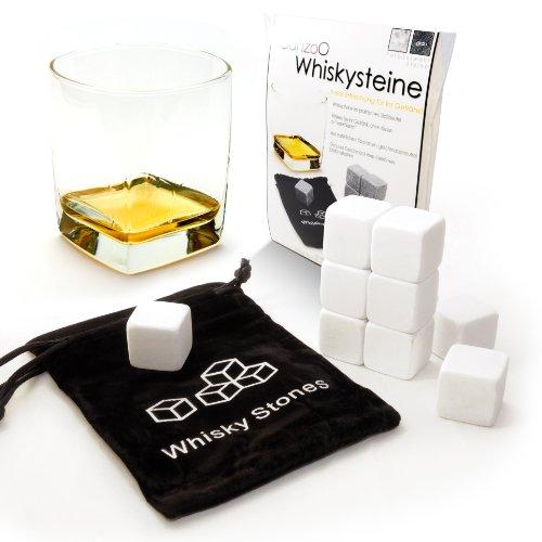 """9er SET Whisky-Steine aus natürlichem Speckstein für Getränke """"on the rocks"""", Kühlsteine im praktischen Stoffbeutel - Marke Ganzoo (Weiß)"""
